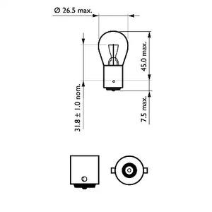 Лампа накаливания, фонарь указателя поворота PHILIPS 75_P21W_LL_TECH.jpg